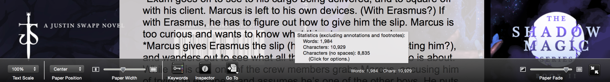 scrivener full screen bottom bump